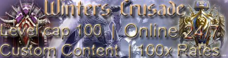 Winter's Crusade, level 80 cap, 100x all rates, 3.2.2a Supported