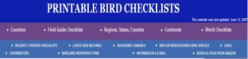 Printable Bird Checklists