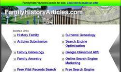 Screenshot of Family History Articles