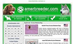 Screenshot of German Shepherd Dogs in the amerbreeder.com