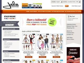 Screenshot of Sewing Patterns by Jalie