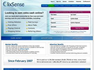 Screenshot of ClixSense - Oldest PTC Site