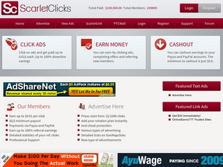 Screenshot of Scarlet-Clicks - Elite PTC Site