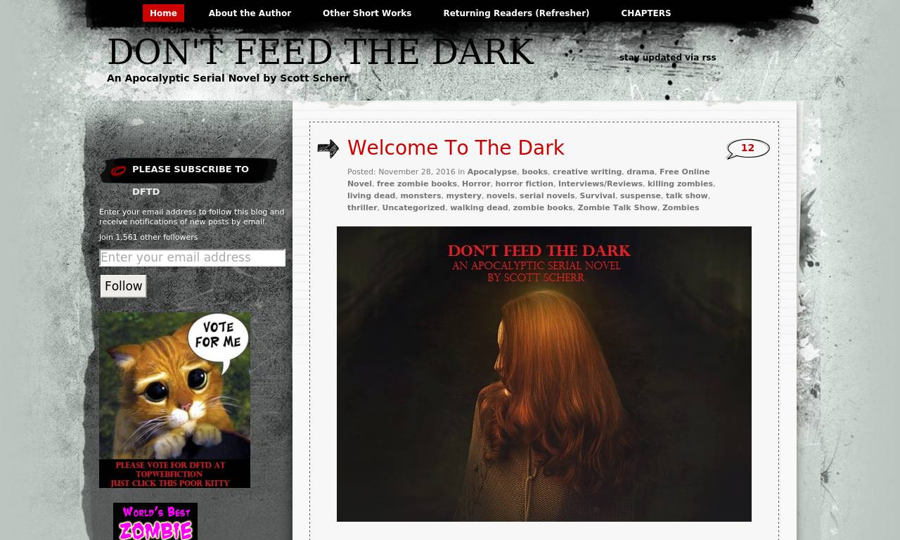 Screenshot of Don't Feed The Dark (a zombie serial novel)