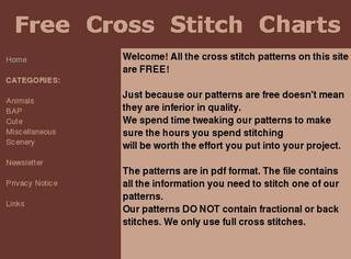 Screenshot of Free Cross Stitch Charts